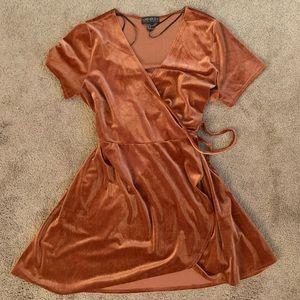 Rusty orange velvet wrap dress